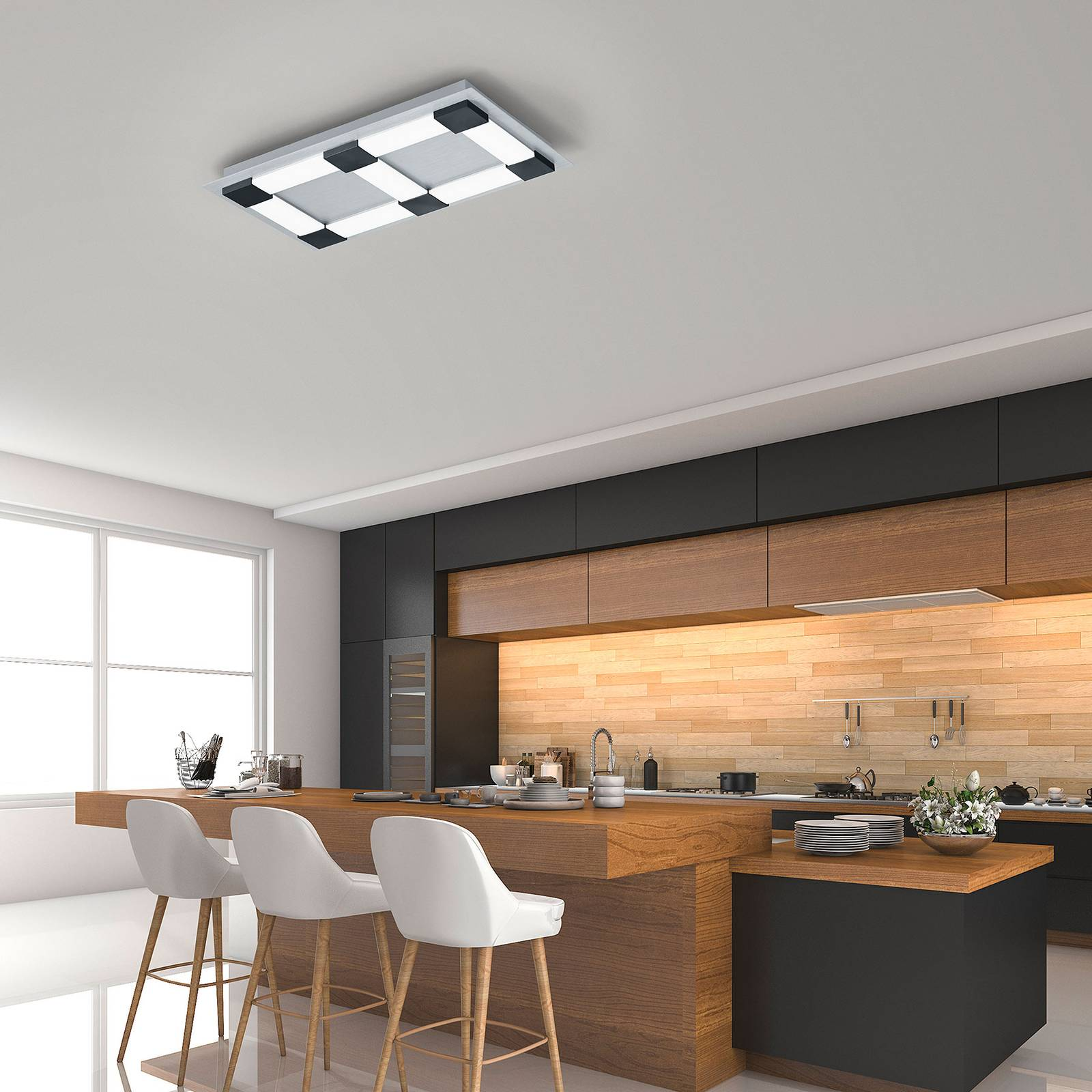 Bopp Plain -LED-kattovalaisin 60x36 cm, älyohjaus