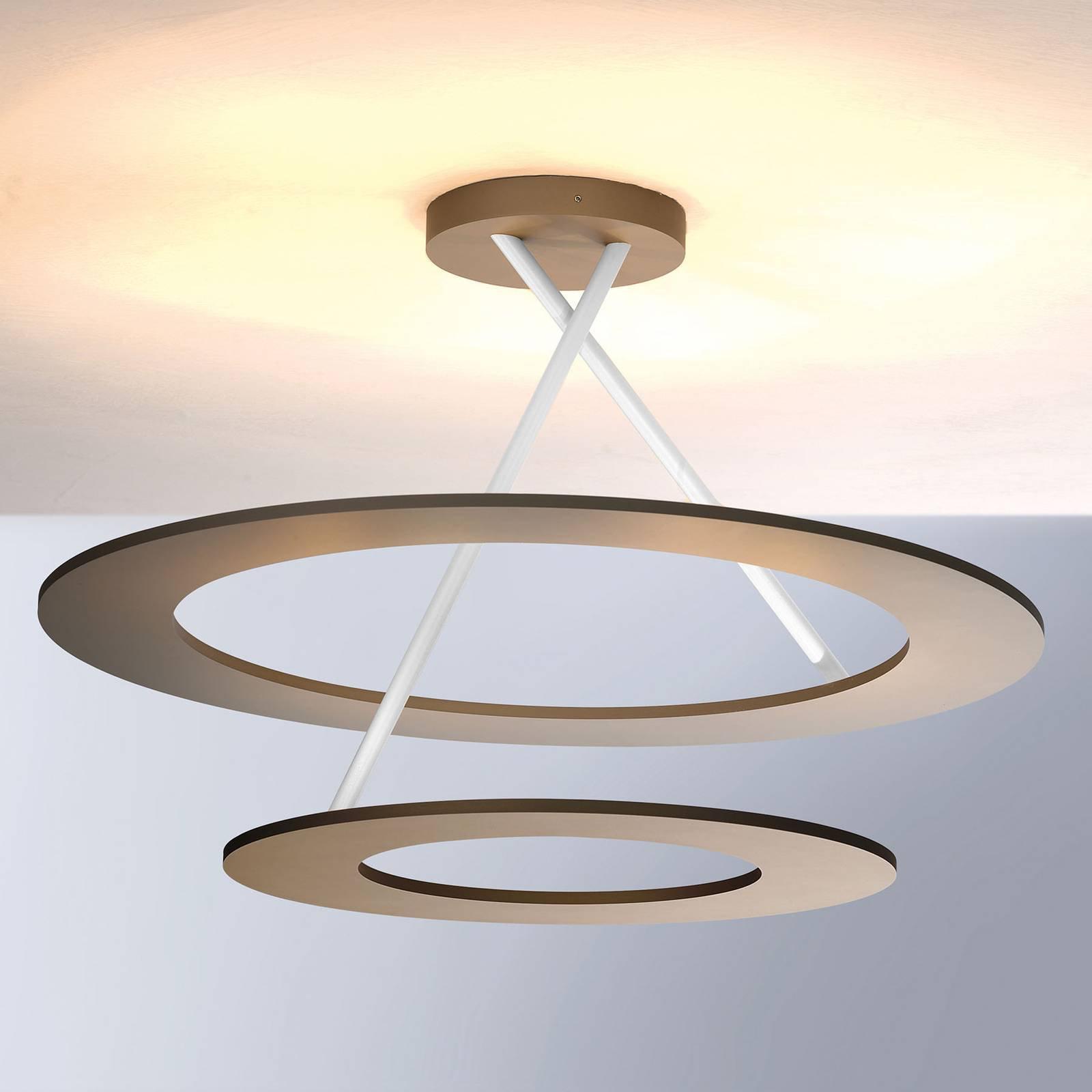 Bopp Stella LED-taklampe 2 ringer, taupe/hvit