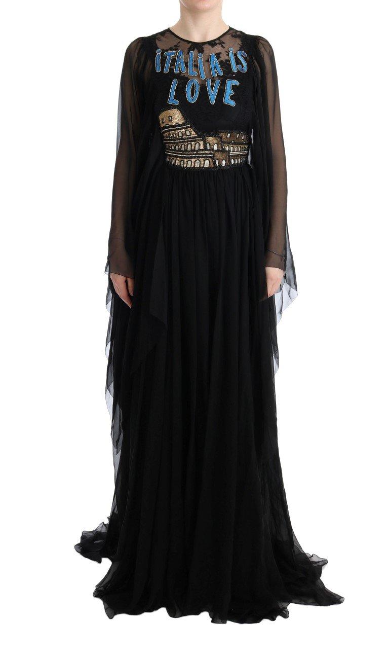 Dolce & Gabbana Women's Silk Italia Sequined Dress Black SIG60595 - IT40 S
