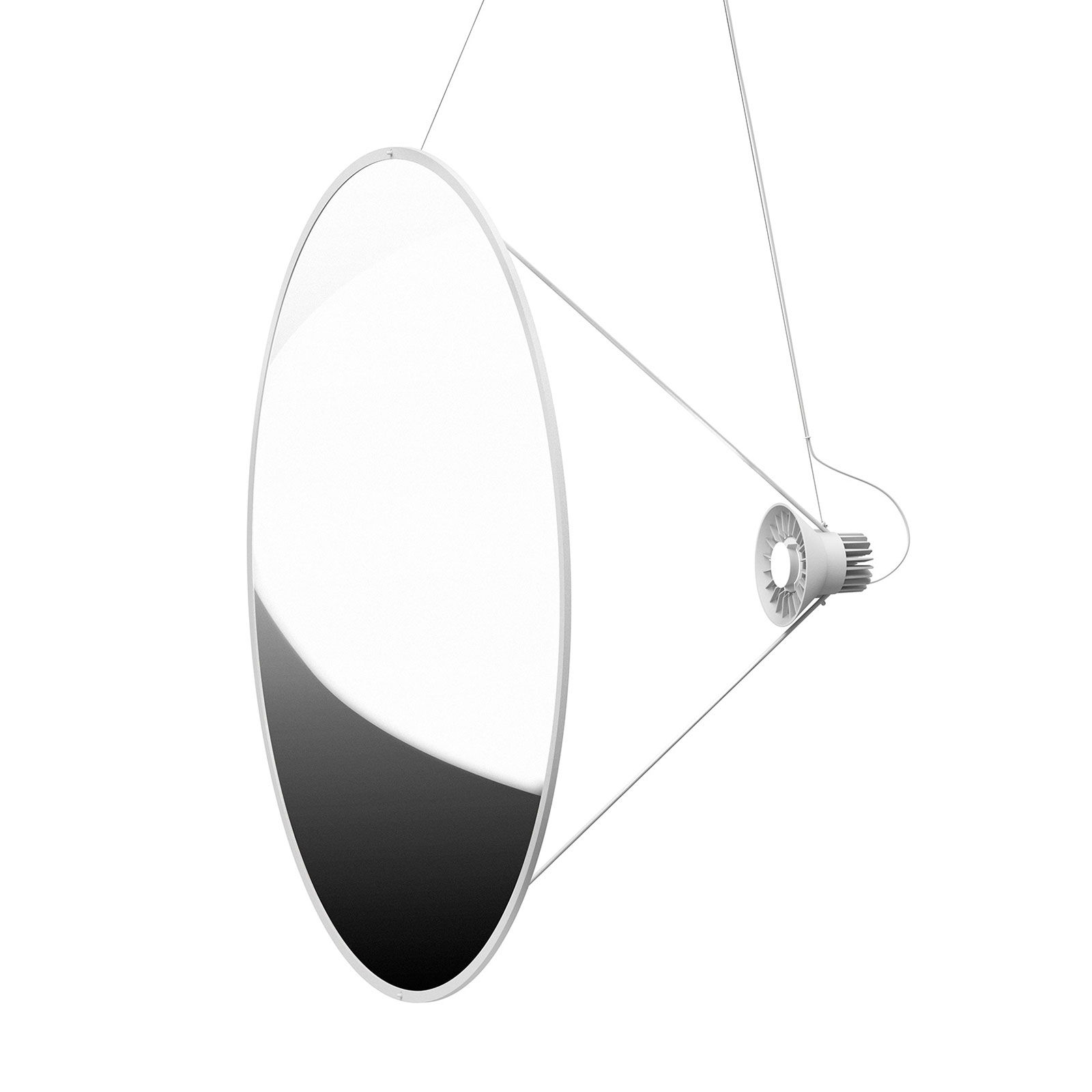 Luceplan Amisol -LED-riippuvalaisin Ø 110 cm hopea