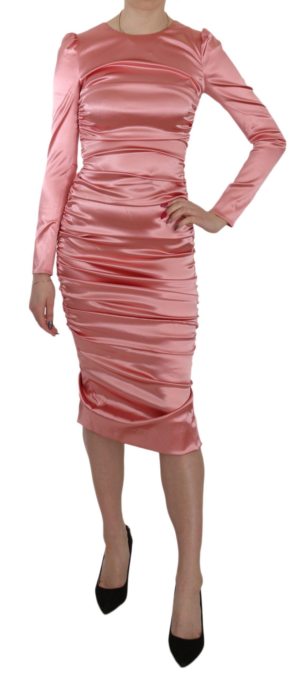 Dolce & Gabbana Women's LS Bodycon Sheath Dress Pink DR1936 - IT38 XS