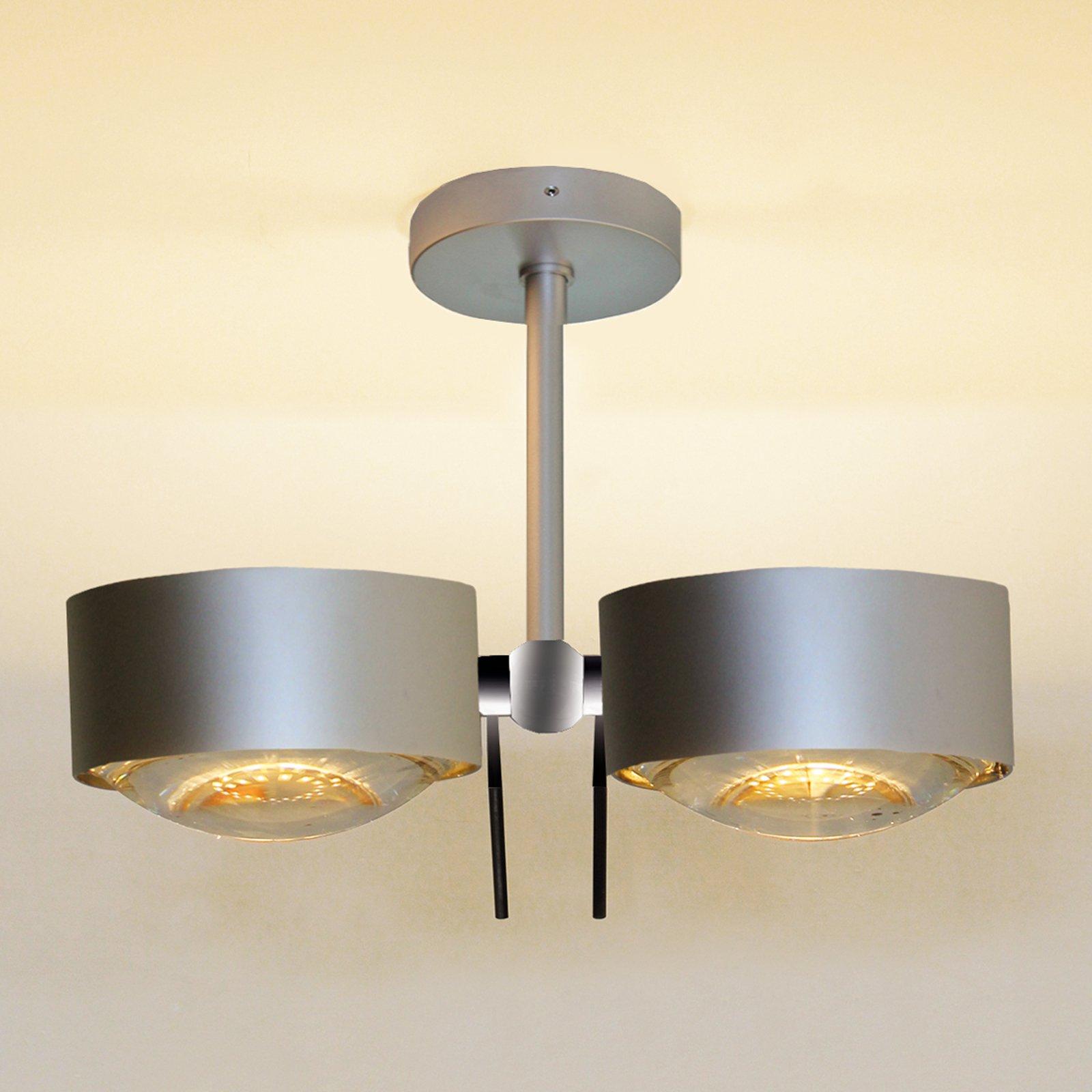 2 lys Taklampe PUK SIDES, krom matt, 10 cm