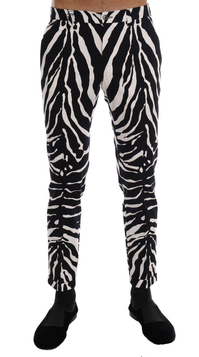 Dolce & Gabbana Men's Zebra Cotton Stretch Slim Trouser Black/White PAN60813 - IT46 | S