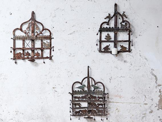 Old Metal Wall Hanging Diya Toran Black