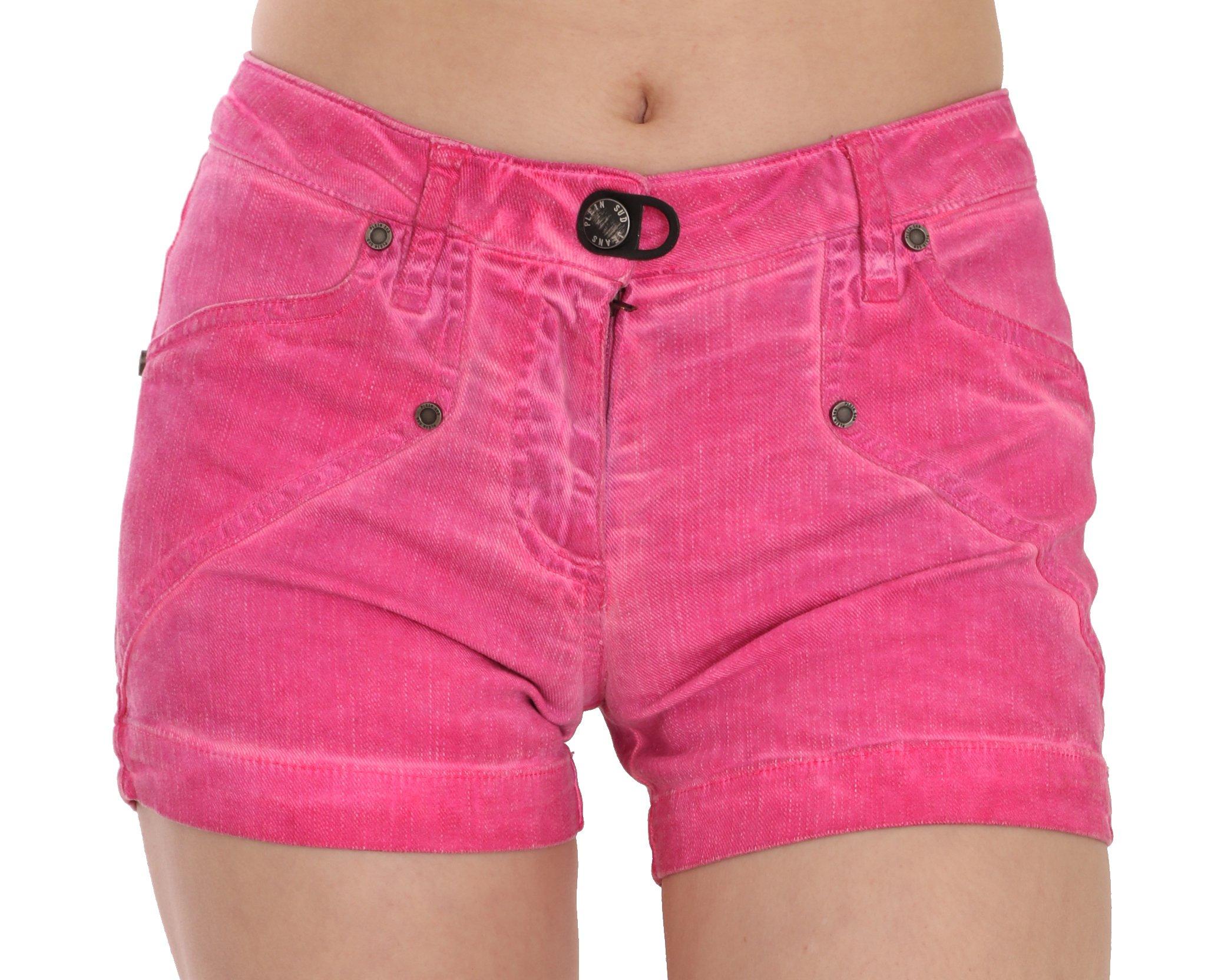 PLEIN SUD Women's Mid Waist Cotton Denim Mini Shorts Pink PAN70247 - IT36 | XS