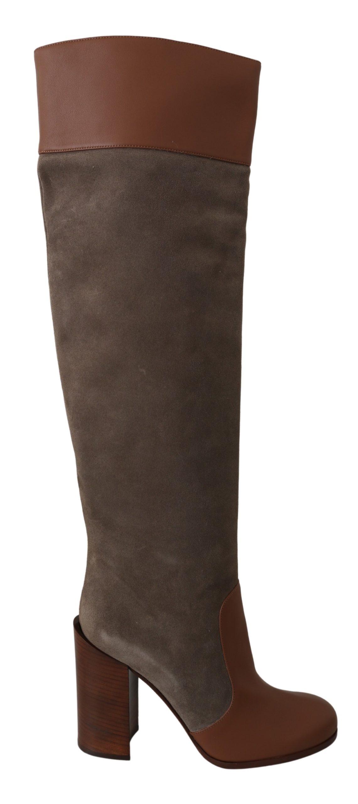Dolce & Gabbana Women's Leather Knee High Boots Brown LA6696 - EU39/US8.5
