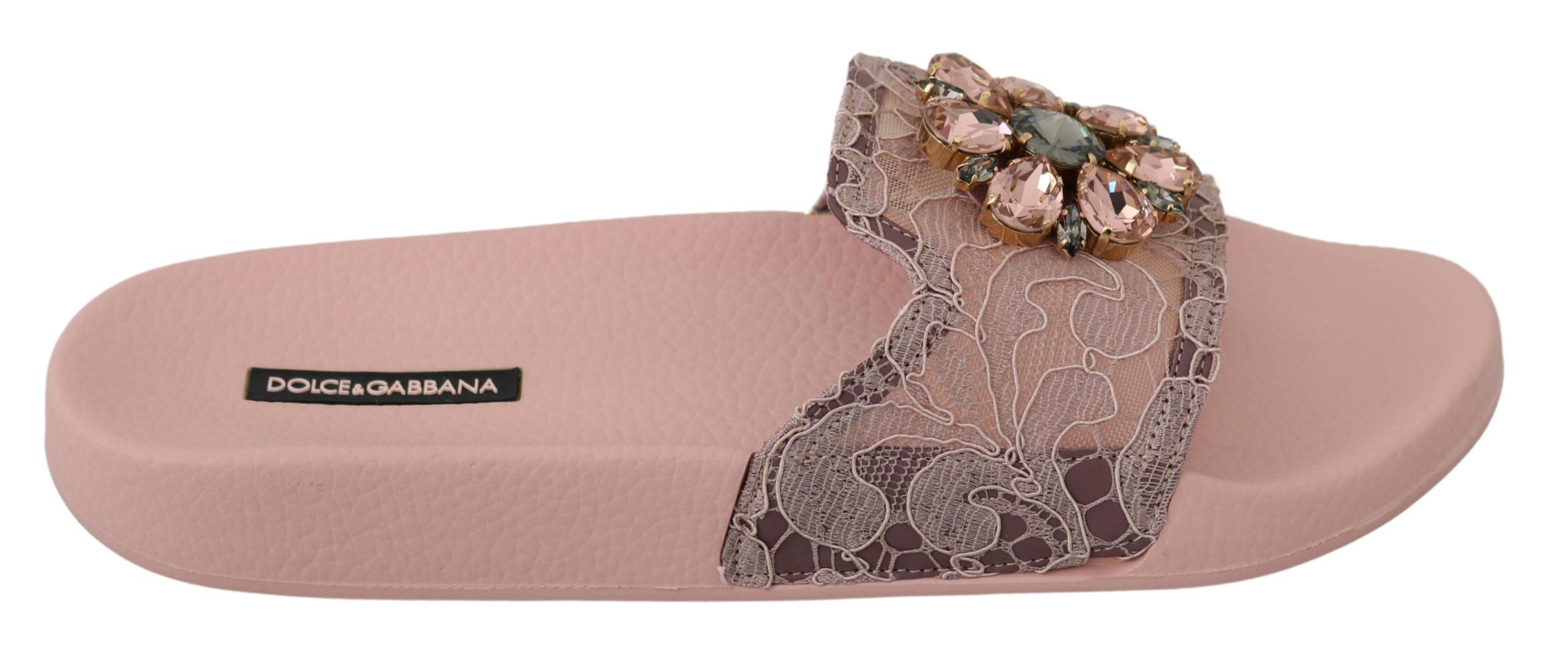 Dolce & Gabbana Women's Lace Crystal Sandals Pink LA6564 - EU36/US5.5