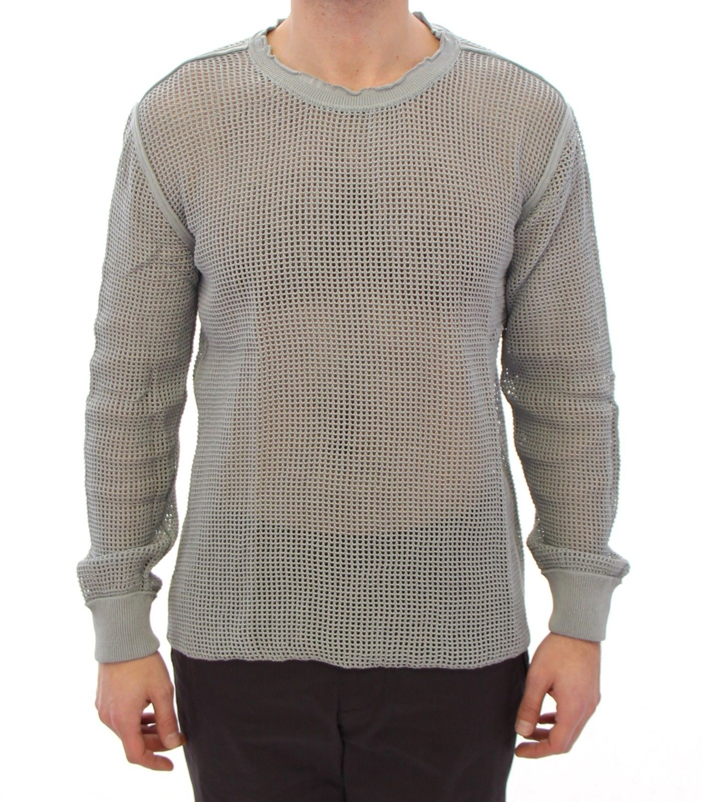 Dolce & Gabbana Men's Runway Logo Netz Pullover Netted Sweater Gray GTH10681 - IT56 | XXL