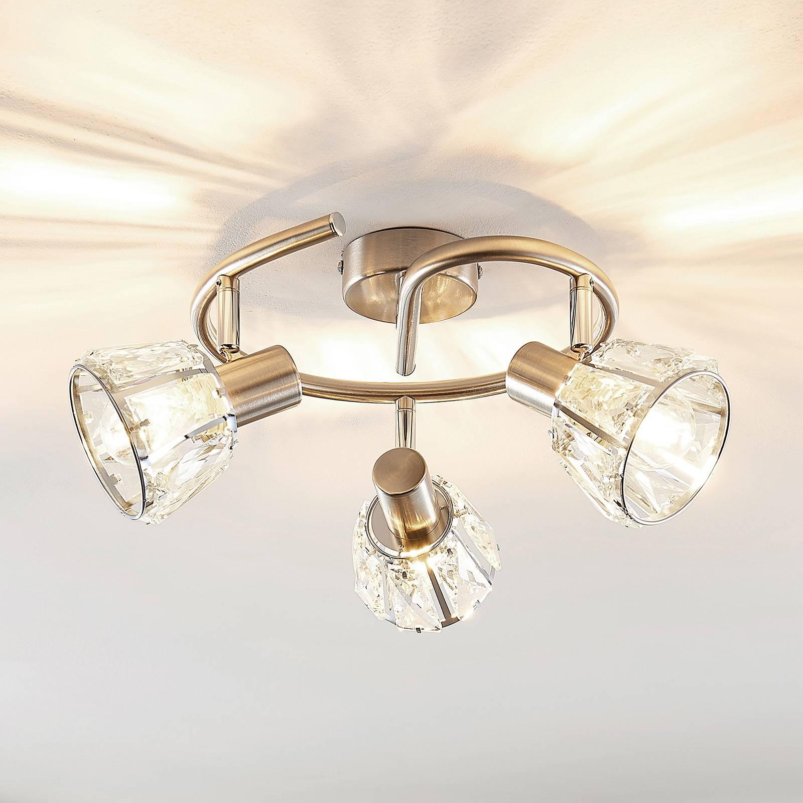Lindby Kosta -kattovalaisin, 3-lamp., nikkeliä