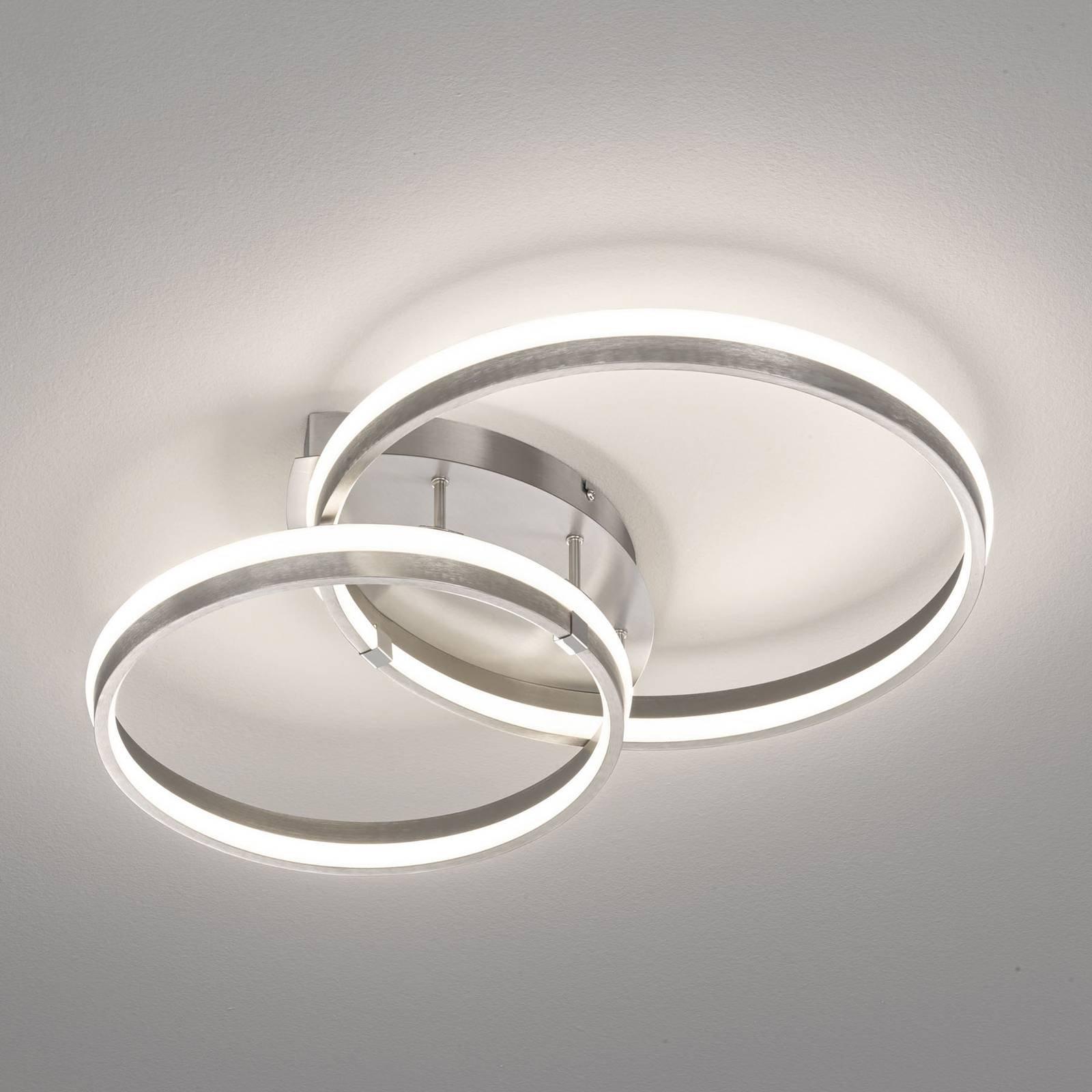 LED-taklampe Nomade, dimbar, nikkelfarget