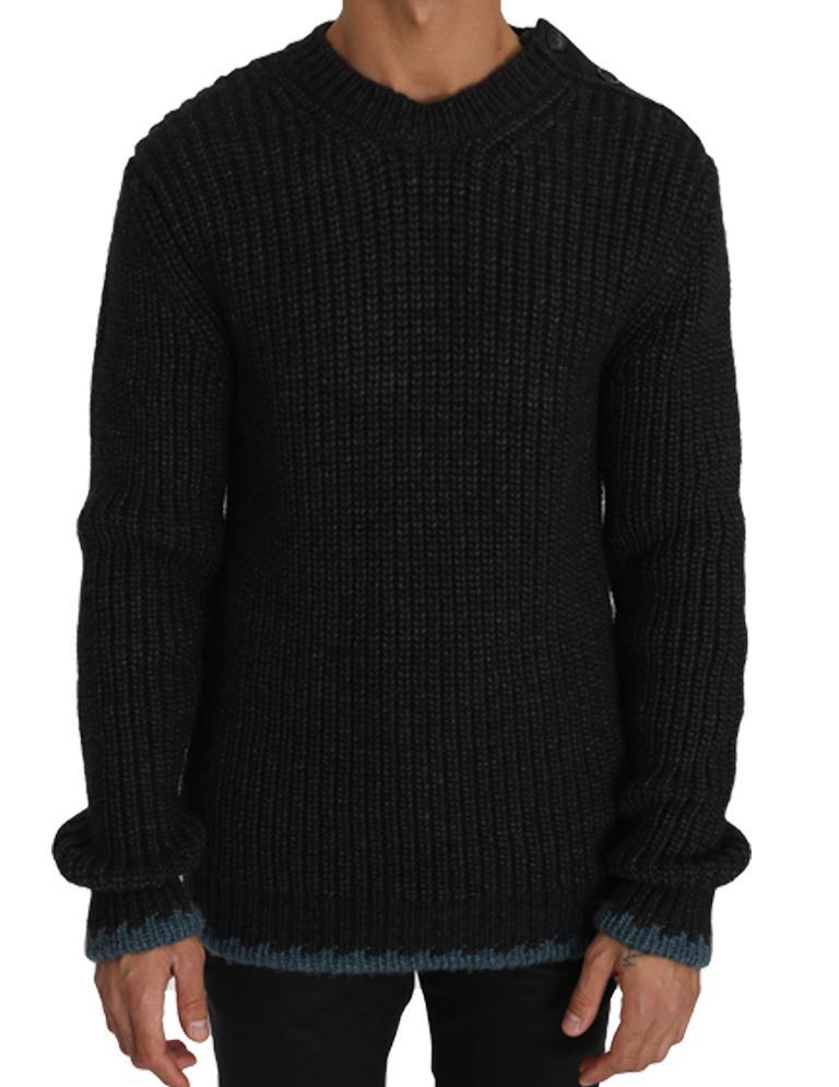 Dolce & Gabbana Men's Wool Crewneck Pullover Sweater Black TSH2733 - IT48   M
