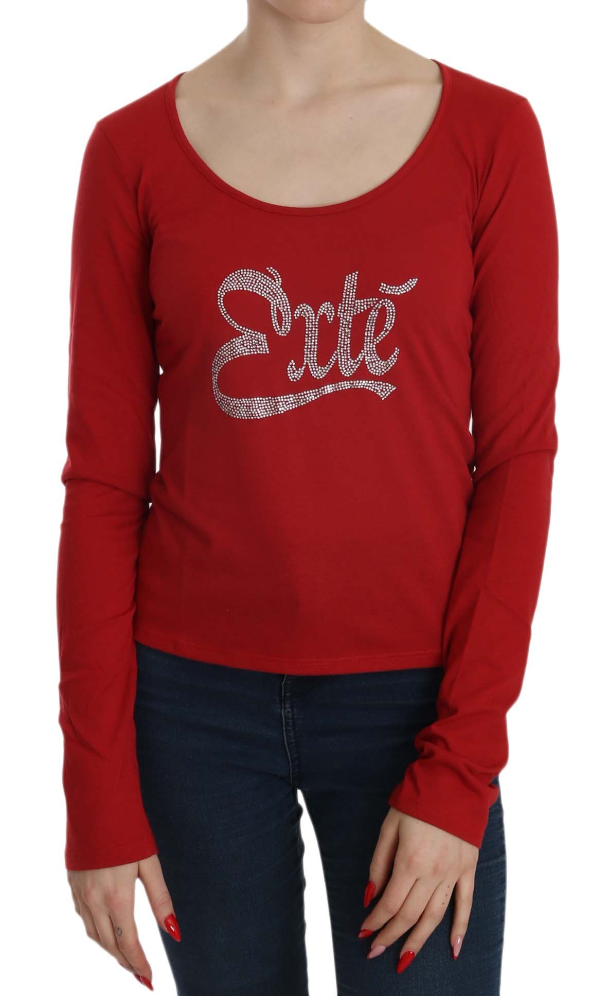Exte Women's Crystal Embellished LS Top Red TSH3921 - IT38|XS