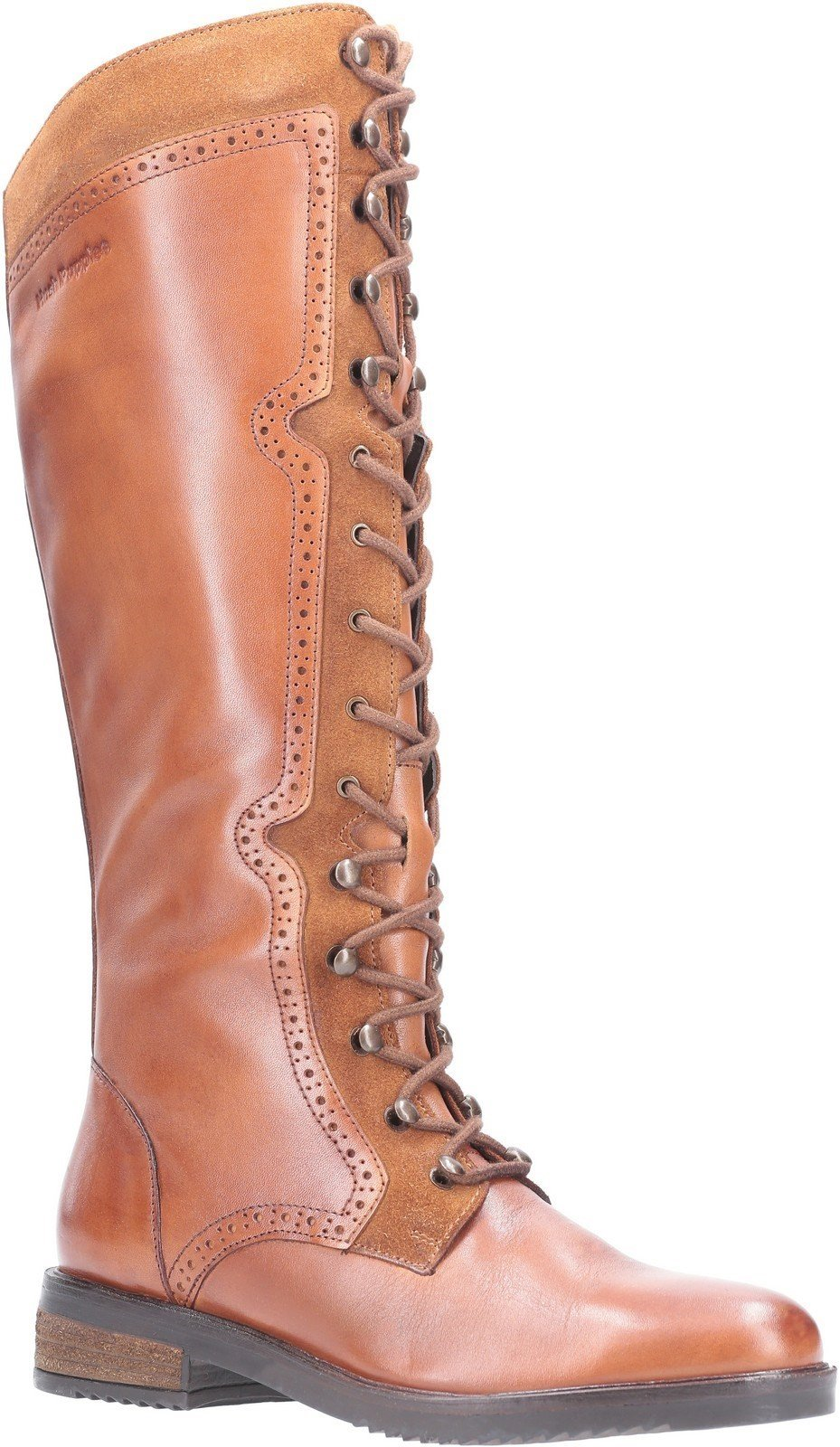 Hush Puppies Women's Rudy Zip Up Lace Up Long Boot Various Colours 29203 - Tan 3