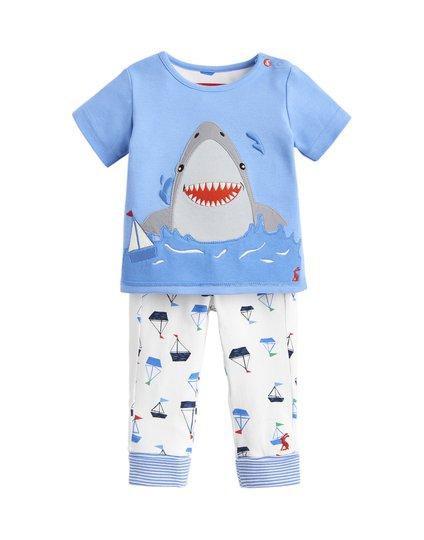 Tom Joule Topp & Bukse Sett, Blue White Shark 3-6 Månader