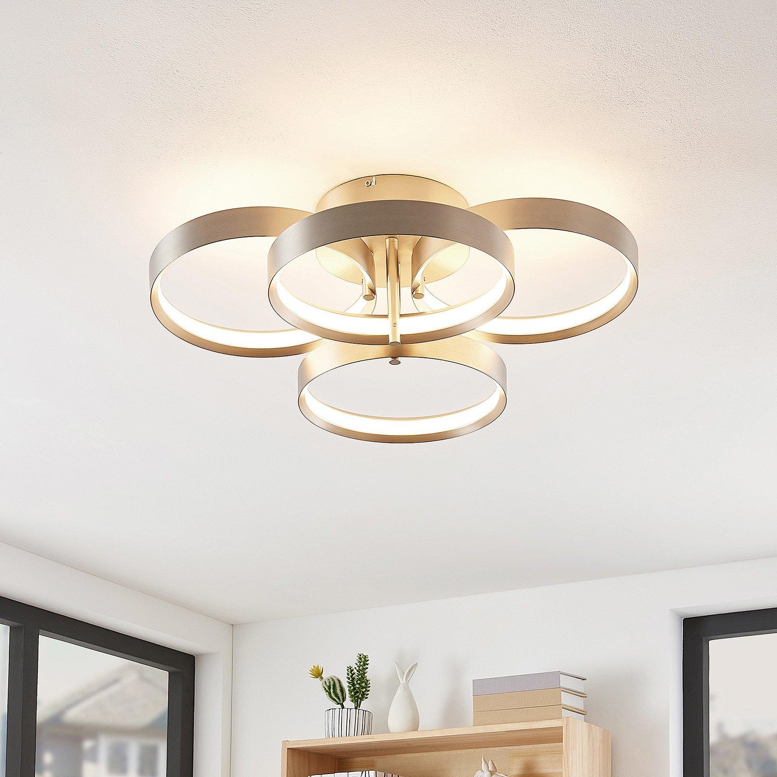 Lucande Naylia LED-taklampe, nikkel, dimbar