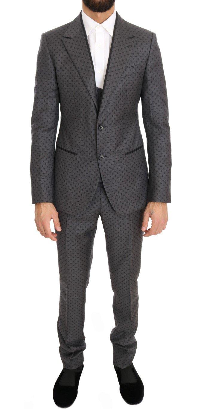 Dolce & Gabbana Men's Polka Dotted Slim Fit 3 Piece Suit Gray KOS1054 - IT44   XS