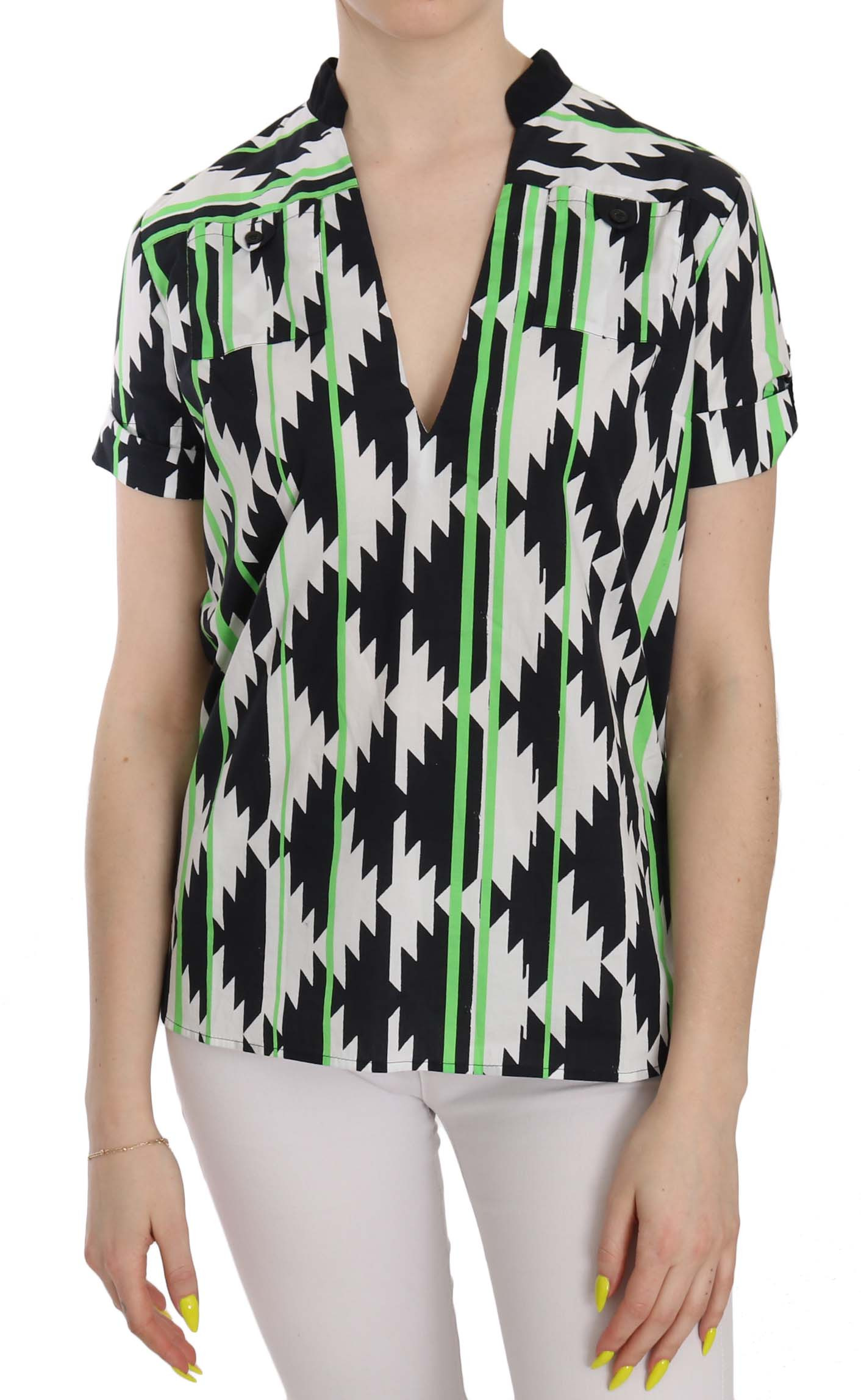 Costume National Women's Plunging Top Multicolor TSH3668 - IT40|S