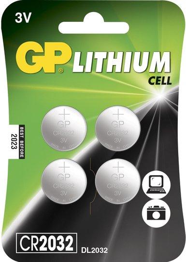 GP Batterier Knappcelle Litium CR2025 4-pack