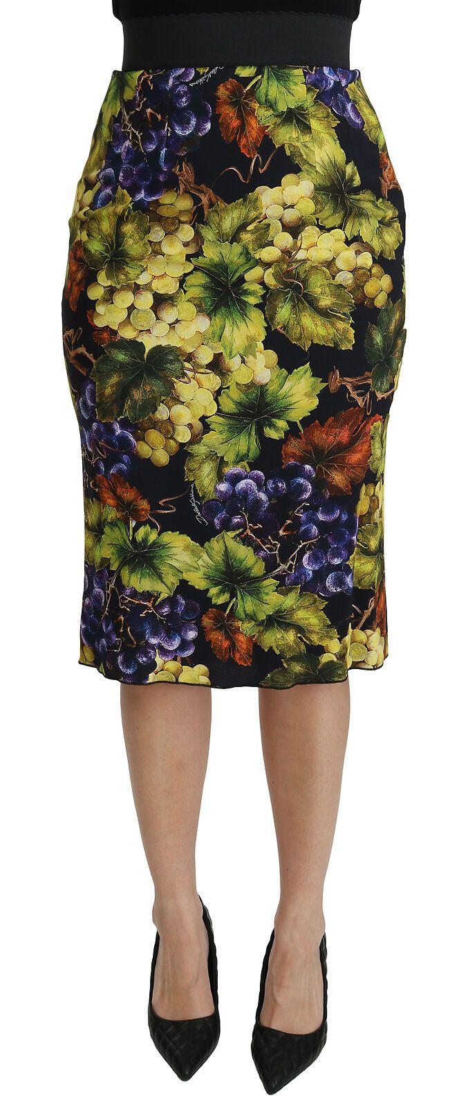 Dolce & Gabbana Women's Grapes Stretch Midi Skirt Multicolor SKI1375 - IT36 | XS