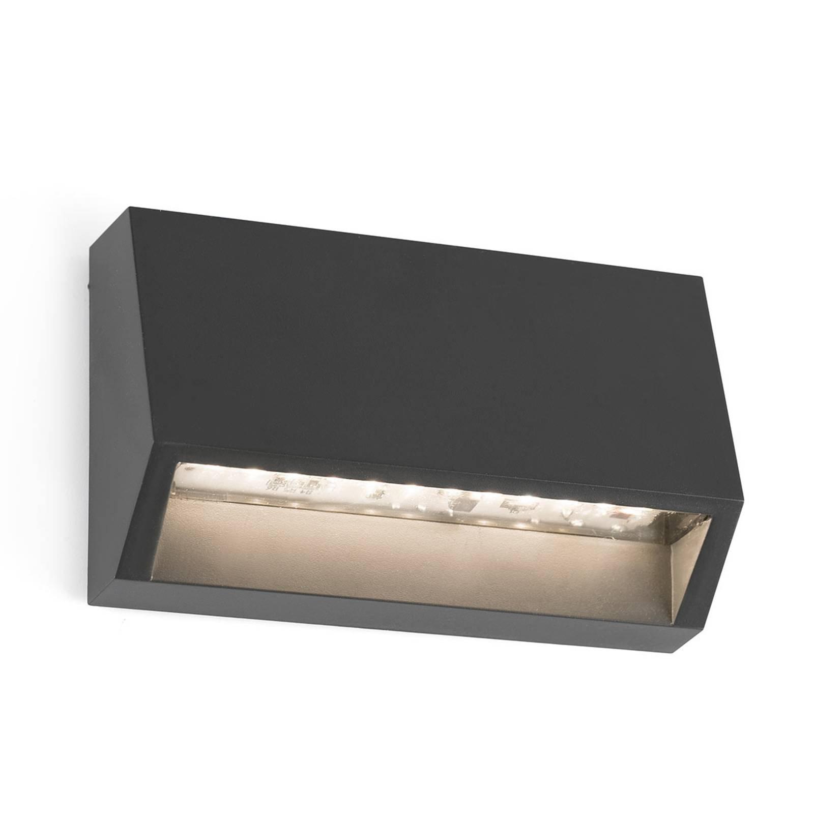 Kantet utendørs LED-vegglampe Must - 9,6 cm