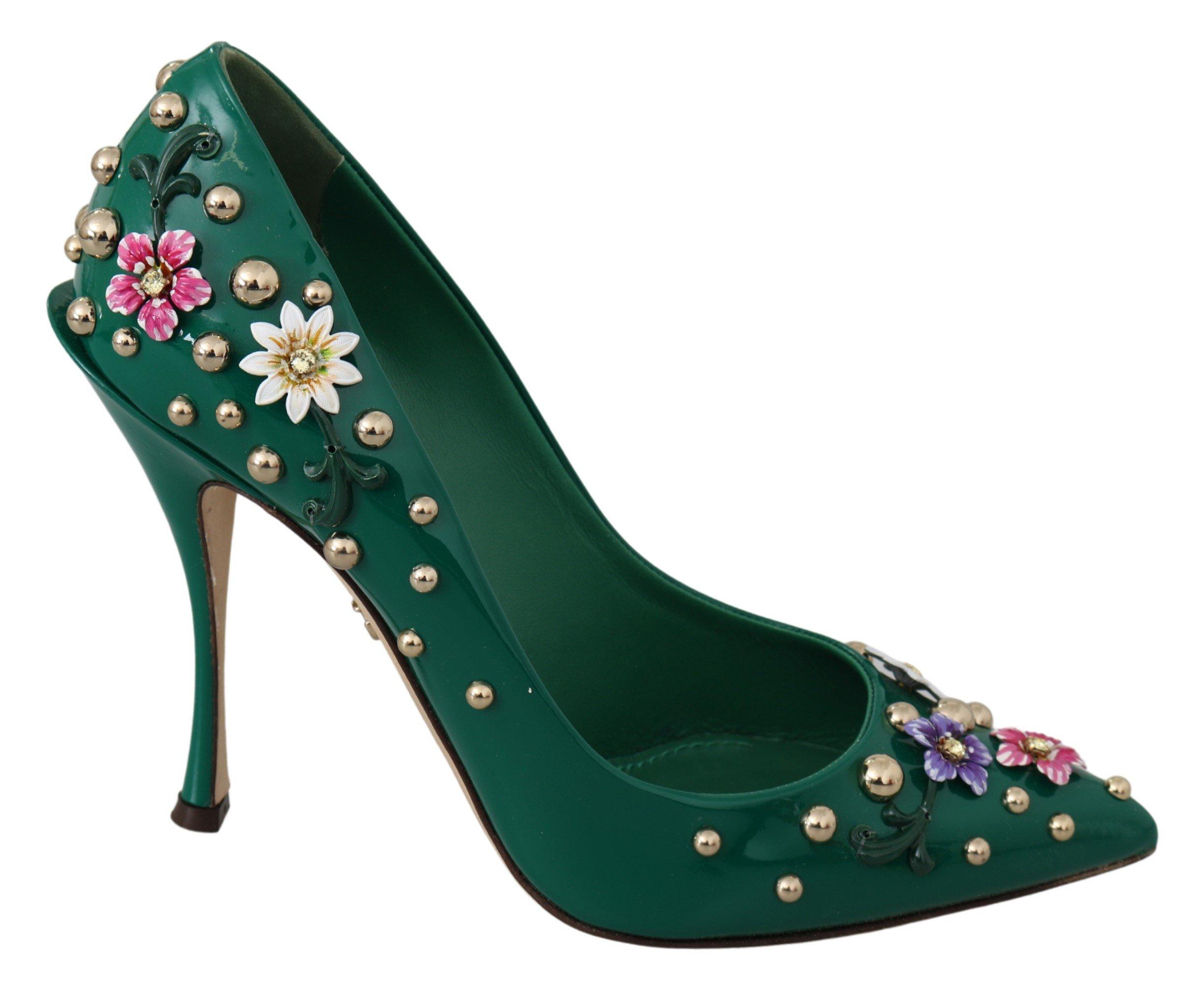 Dolce & Gabbana Women's Floral Crystal Leather Pumps Green LA6786 - EU39/US8.5