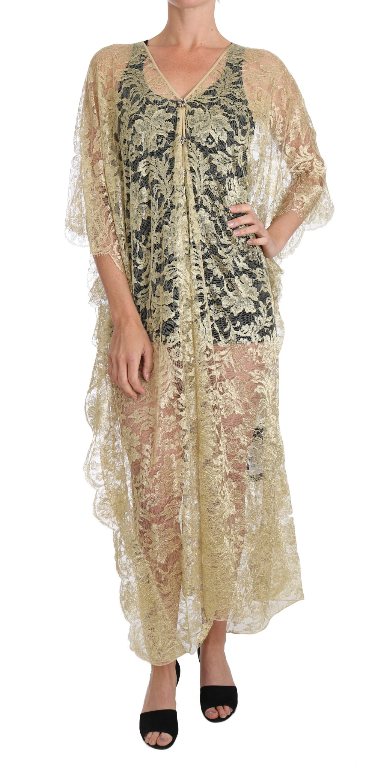 Dolce & Gabbana Women's Floral Lace Crystal Gown Cape Dress Gold DR1524 - IT36 | XS