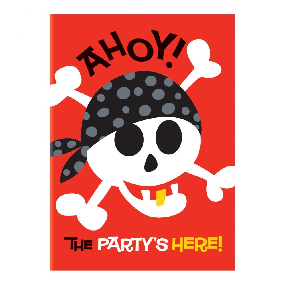Inbjudningskort Piratkalas - 8-pack