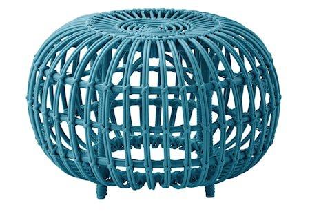 Alu rattan ottoman – Ø65, Blue
