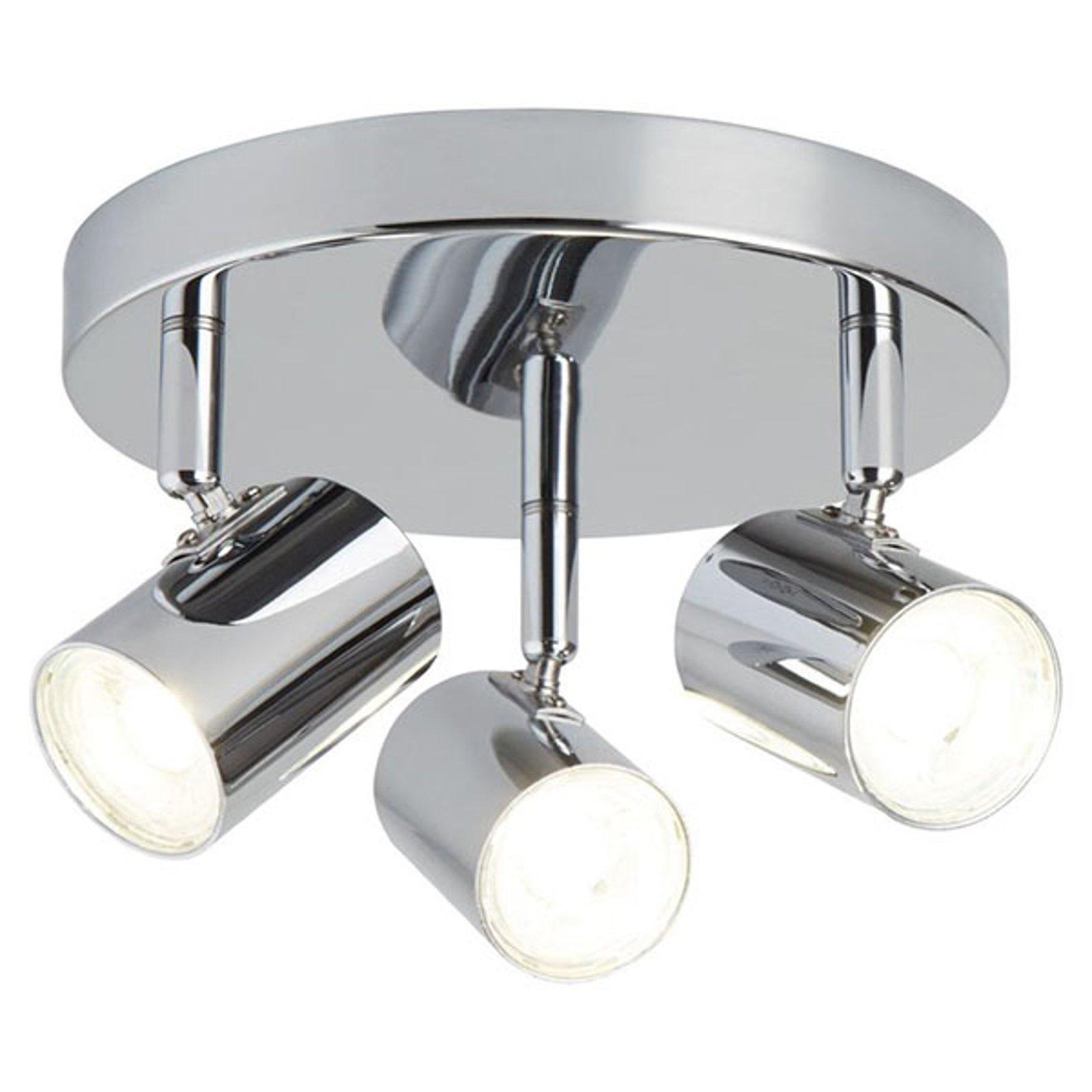 LED-taklampe Rollo, 3 lyskilder, krom