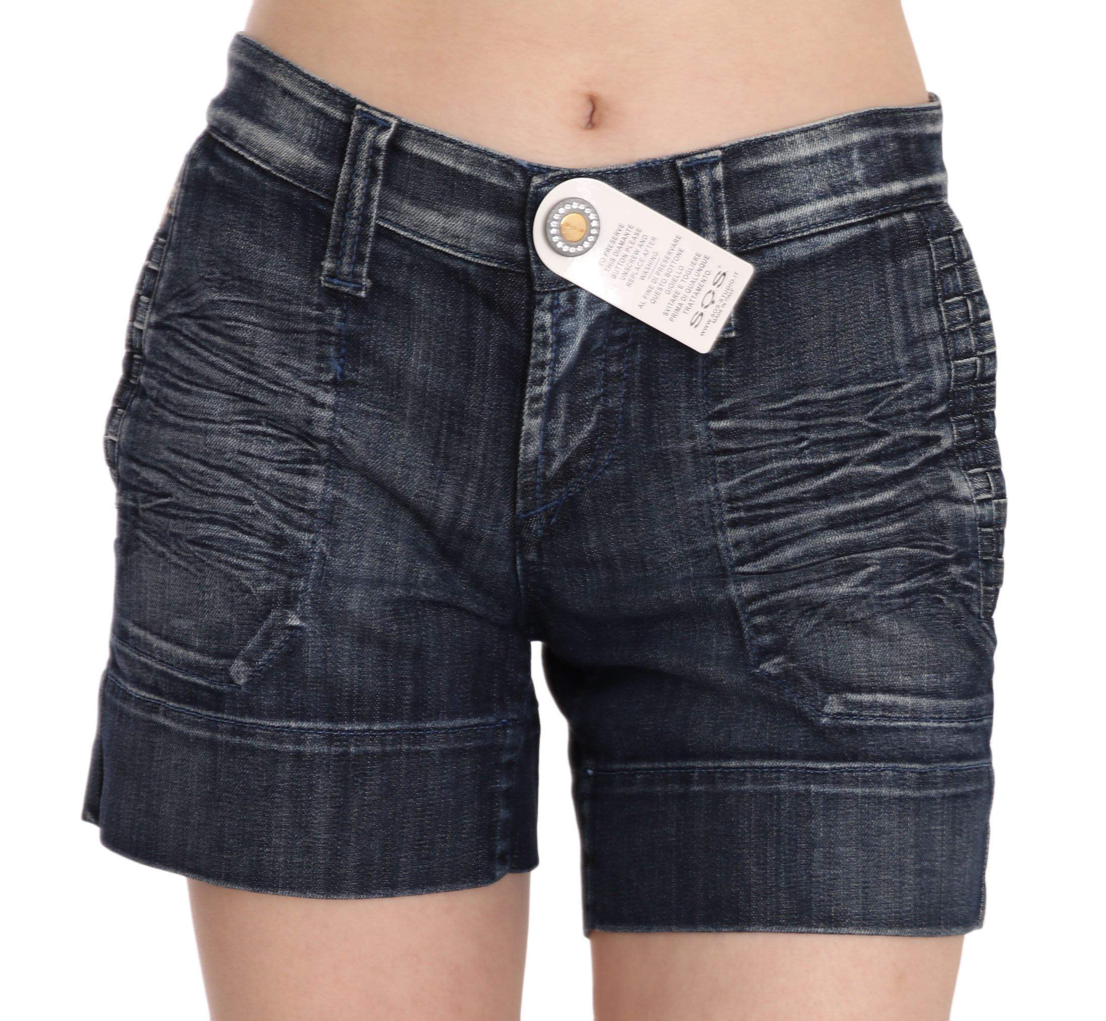 Blue Stretch Cotton Mini STUDIO Shorts - IT42|M