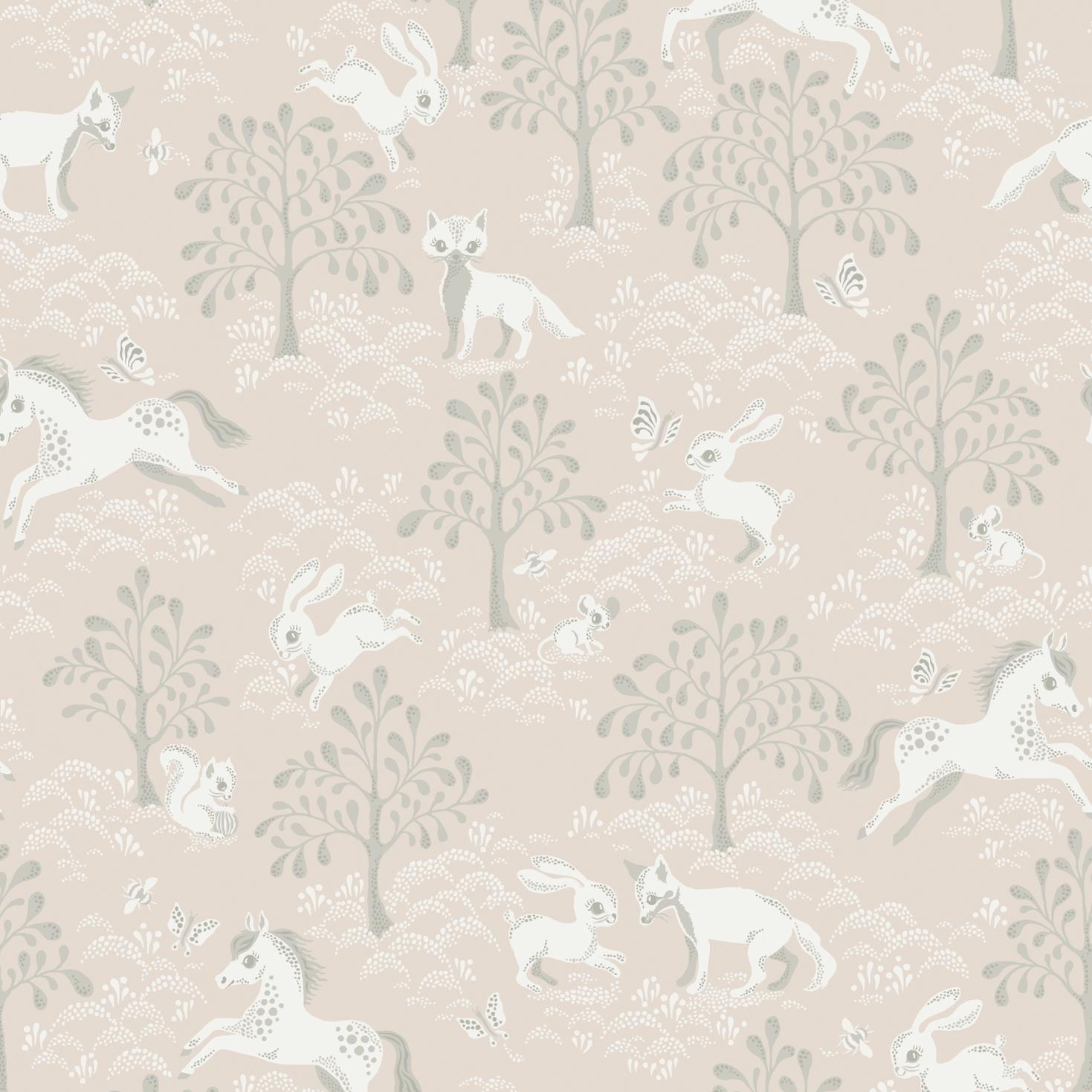 Tapet Fairytale fox - Dusty pink, Littlephant
