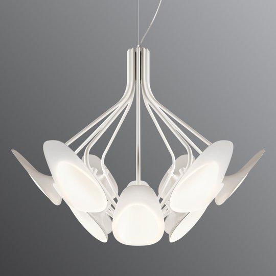 12-lamppuinen LED-riippuvalaisin Peacock valkoinen