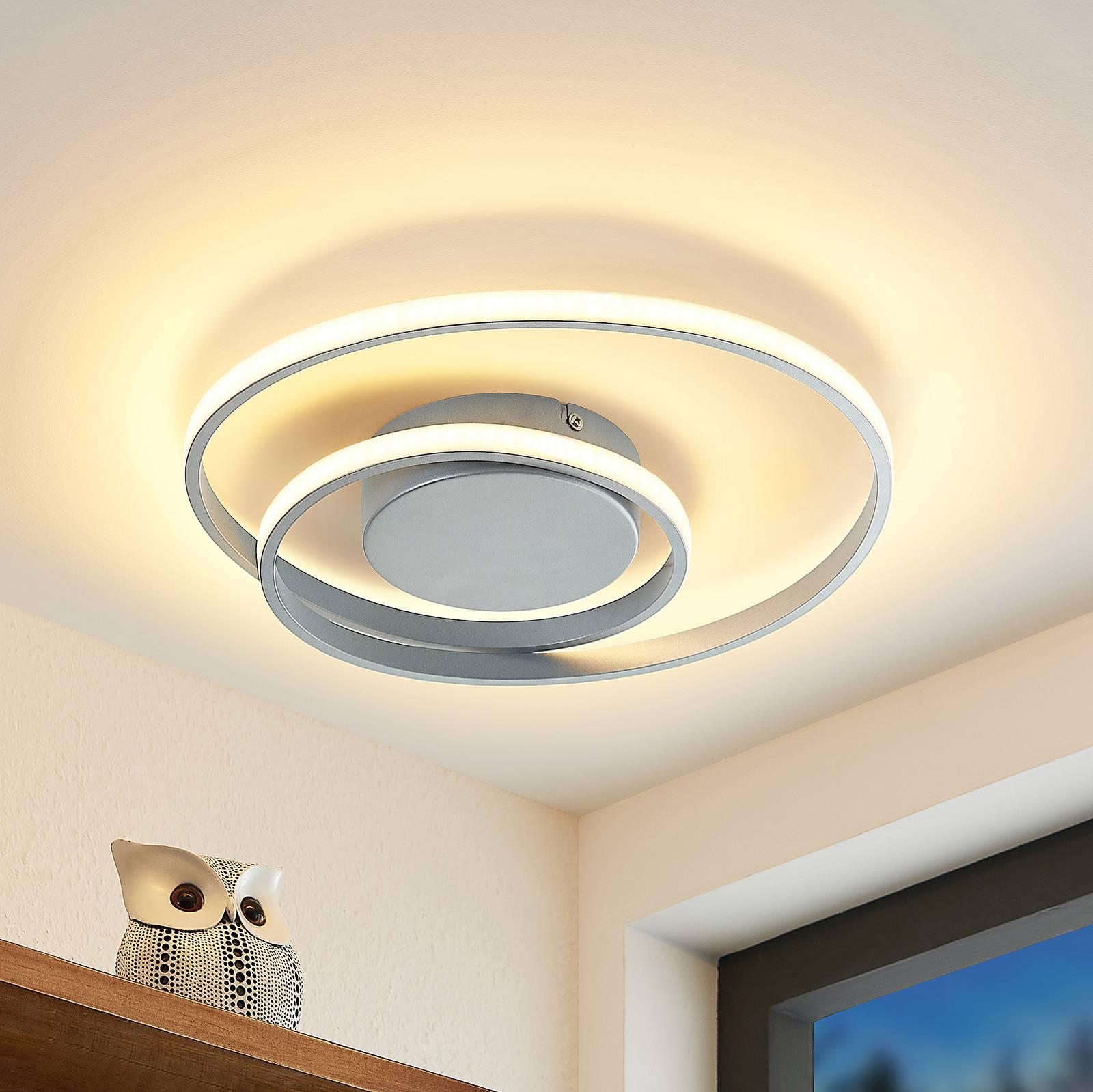Lindby-LED-kattovalaisin Emisua CCT hopea