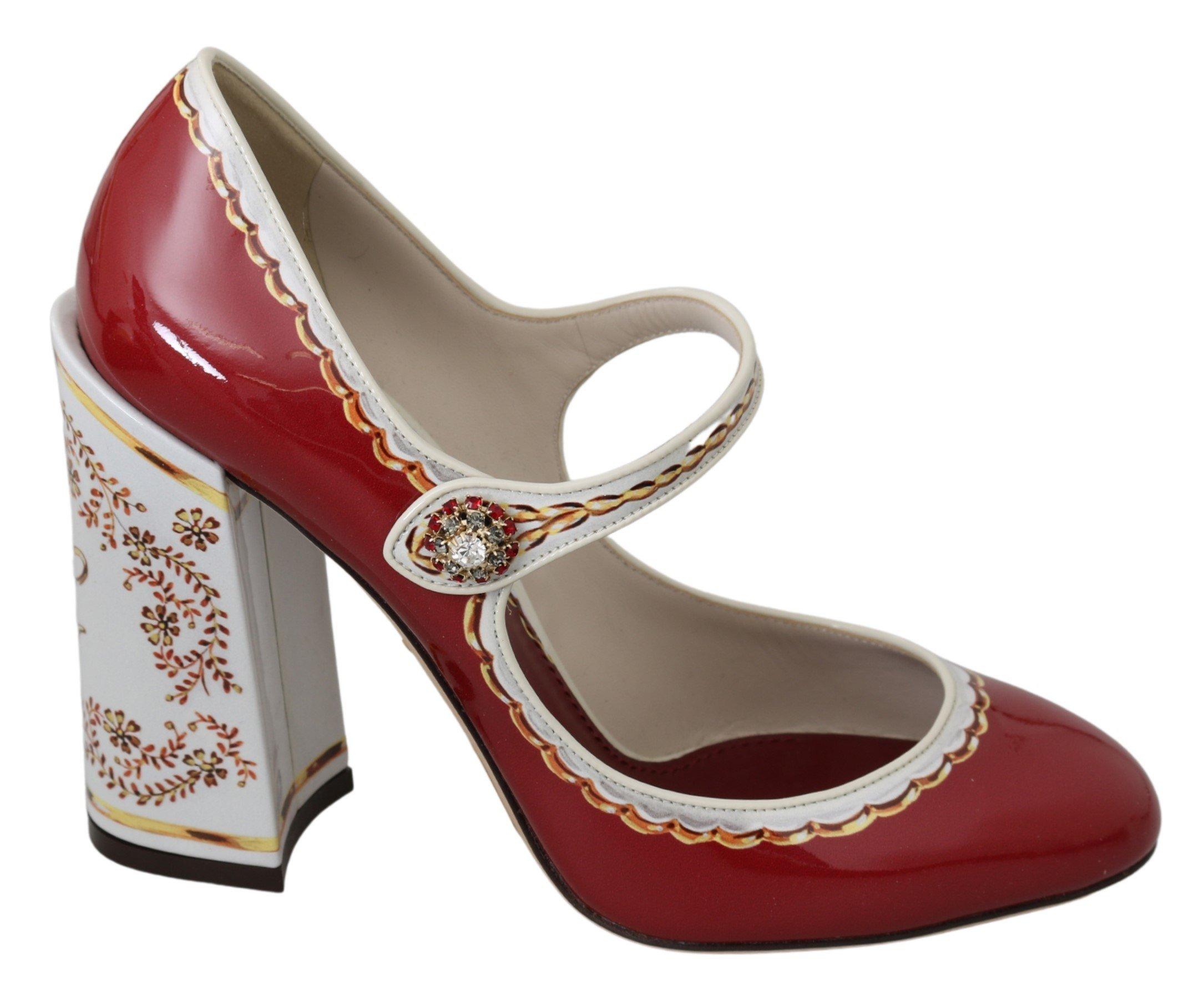 Dolce & Gabbana Women's Leather Mary Jane Pumps Red LA6922 - EU39/US8.5