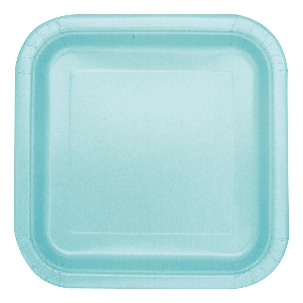 Papperstallrikar Kvadrat Mint - 14-pack