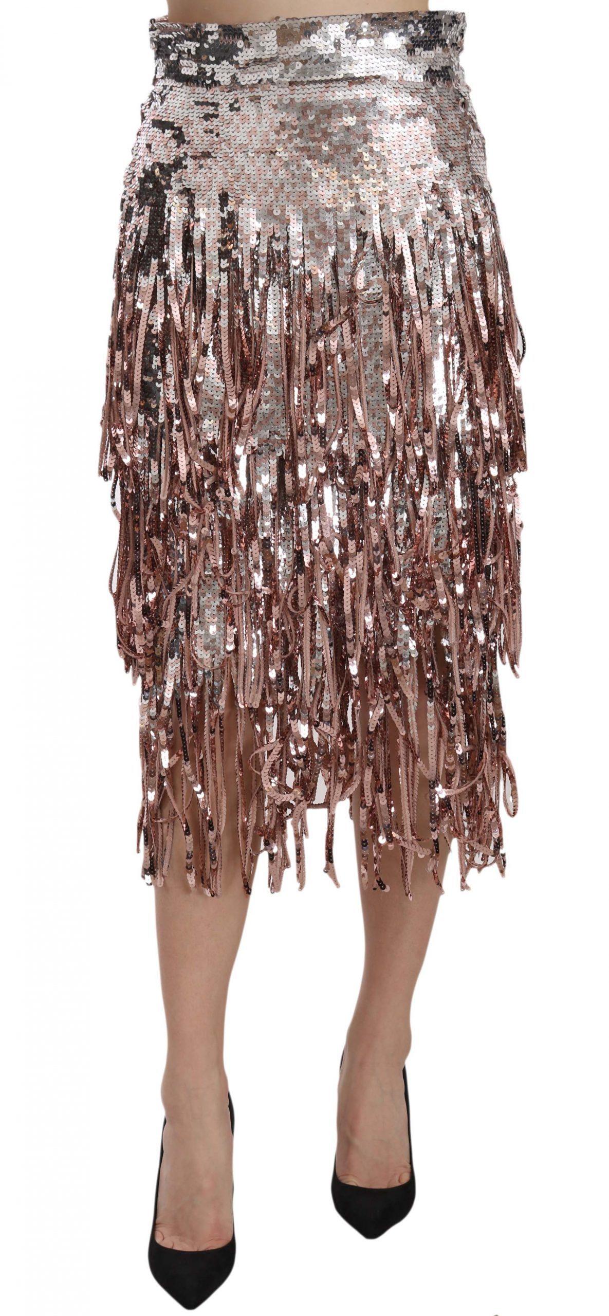 Dolce & Gabbana Women's Embellished Fringe Midi Pencil Skirt Silver SKI1173 - IT44 L