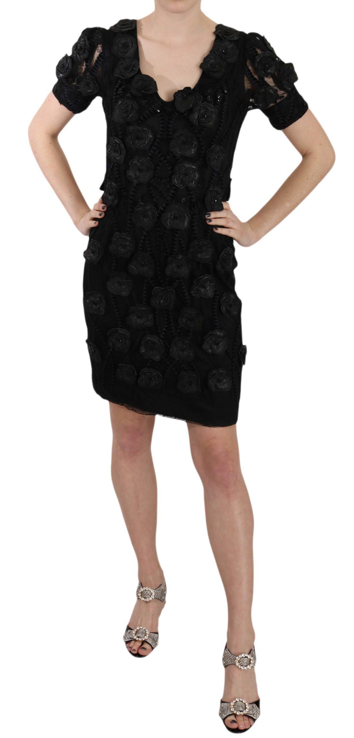 John Richmond Women's Silk Leather Flowers Sheath Dress Black DR1677BG - IT42|M