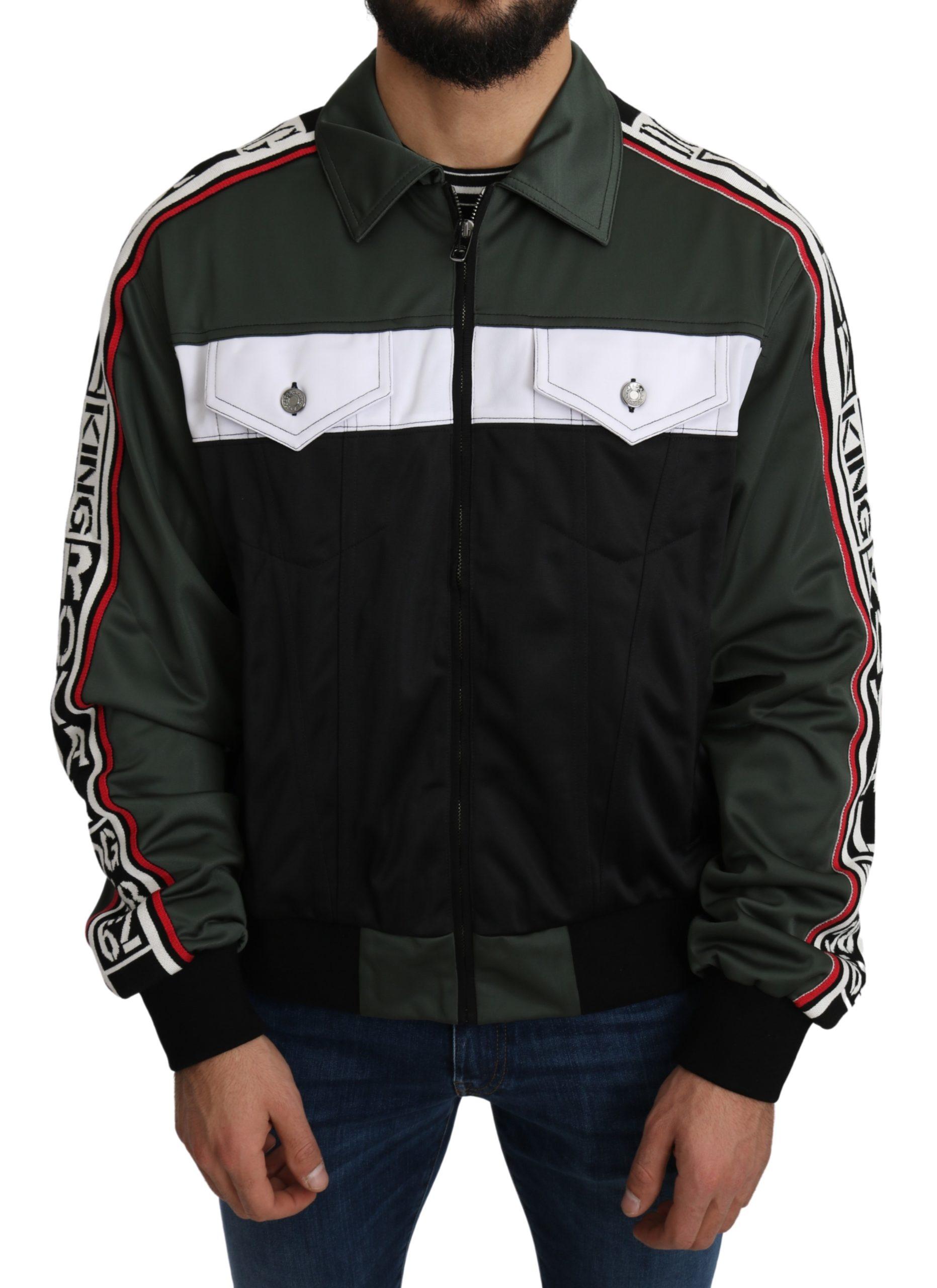 Dolce & Gabbana Men's DG KING Logo Stripe Jacket Green JKT2645 - IT50 | L