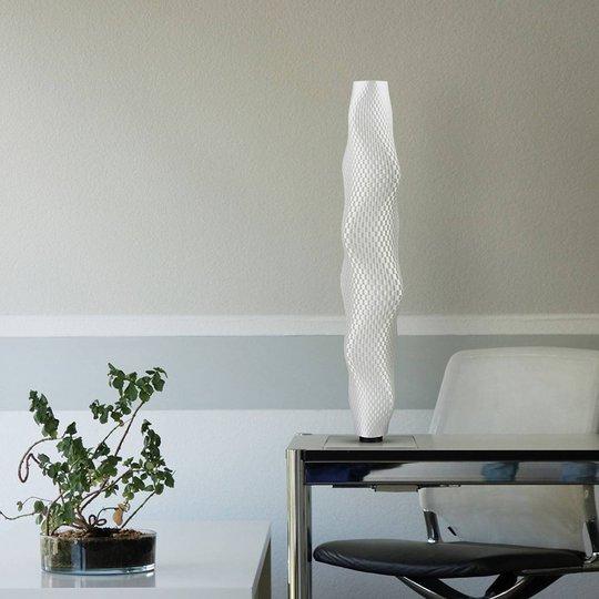 LED-gulvlampe Flechtwerk Kaktus, 75 cm, hvit