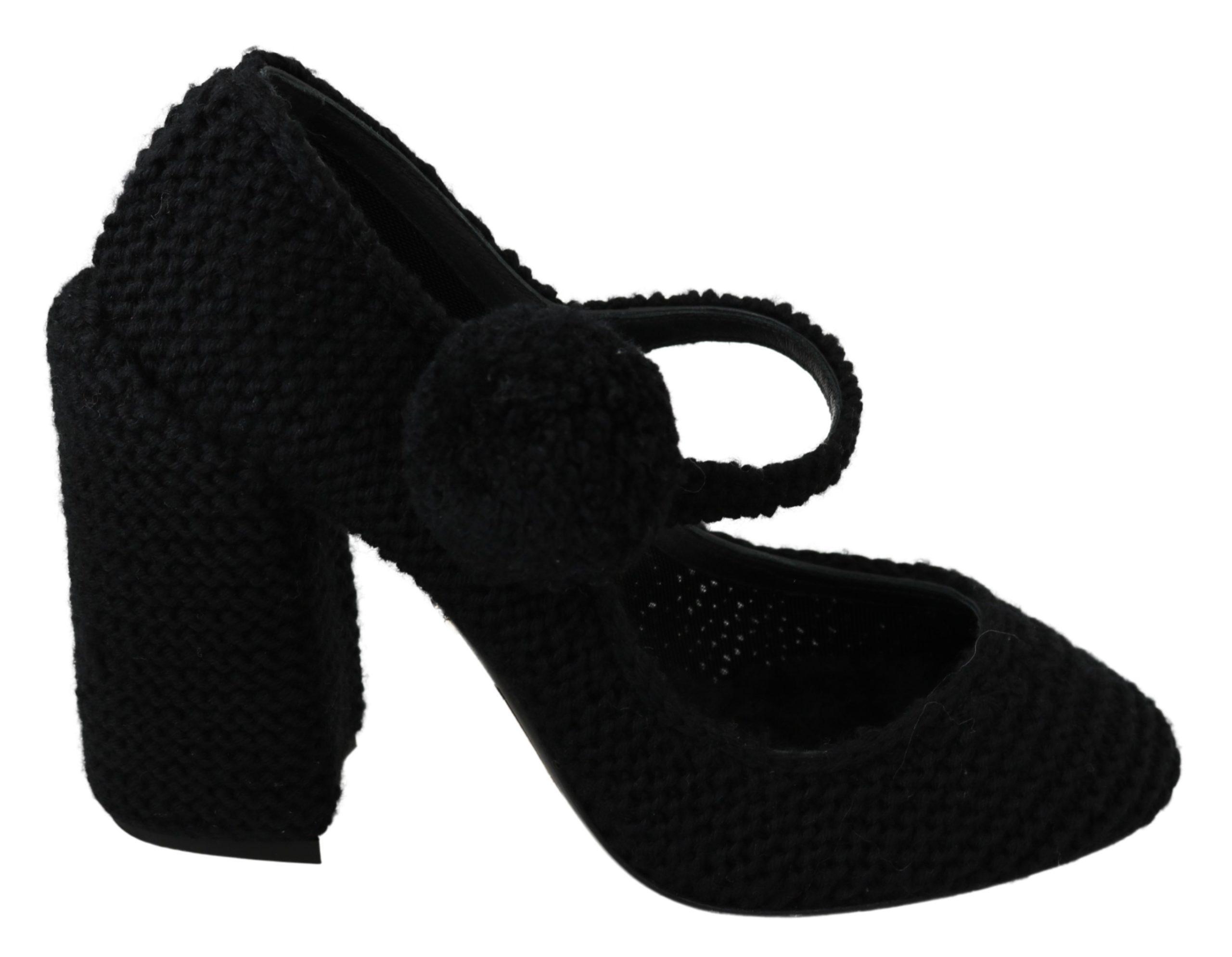 Dolce & Gabbana Women's Pom Pom Mary Jane Pumps Black LA6901 - EU39/US8.5