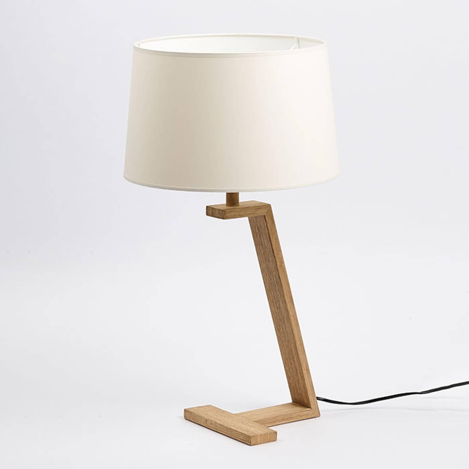 Memphis LT bordlampe i tre og stoff, hvit