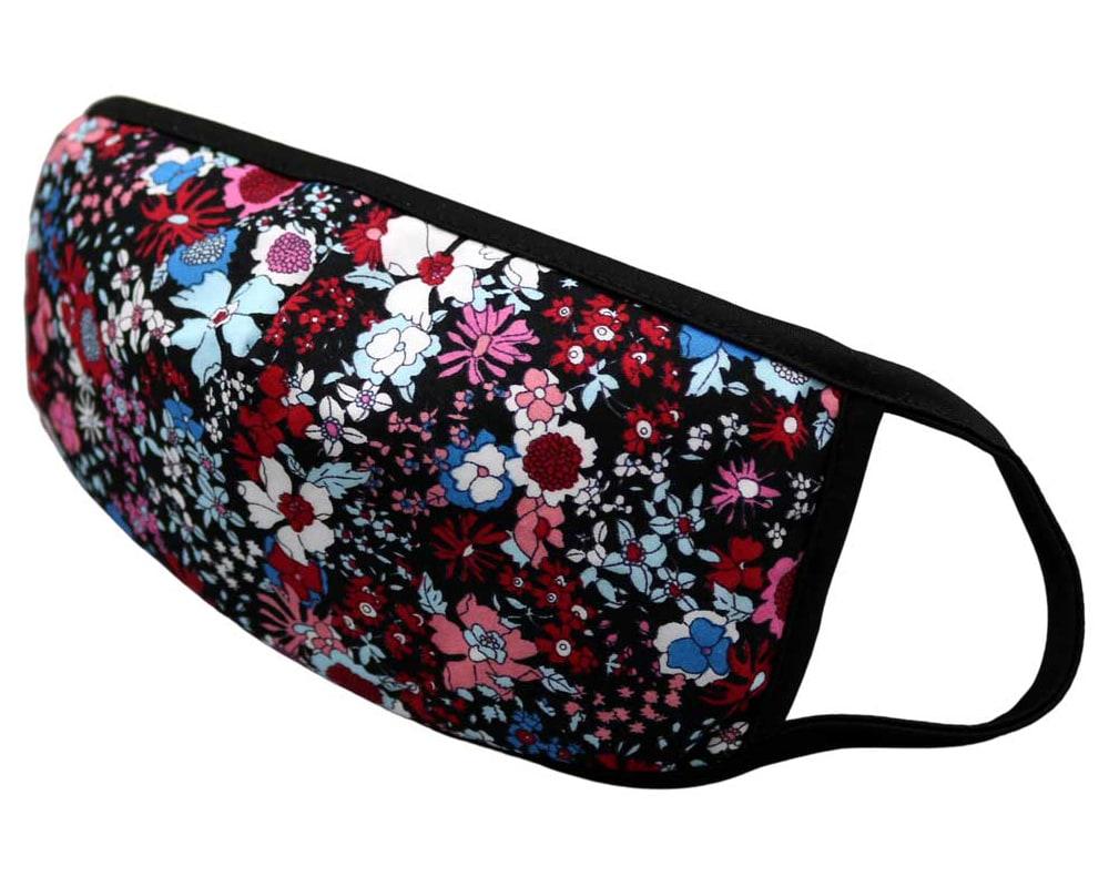 Bomull Ansiktsmask, Røde og blå blomster på svart, Svart, Flowers