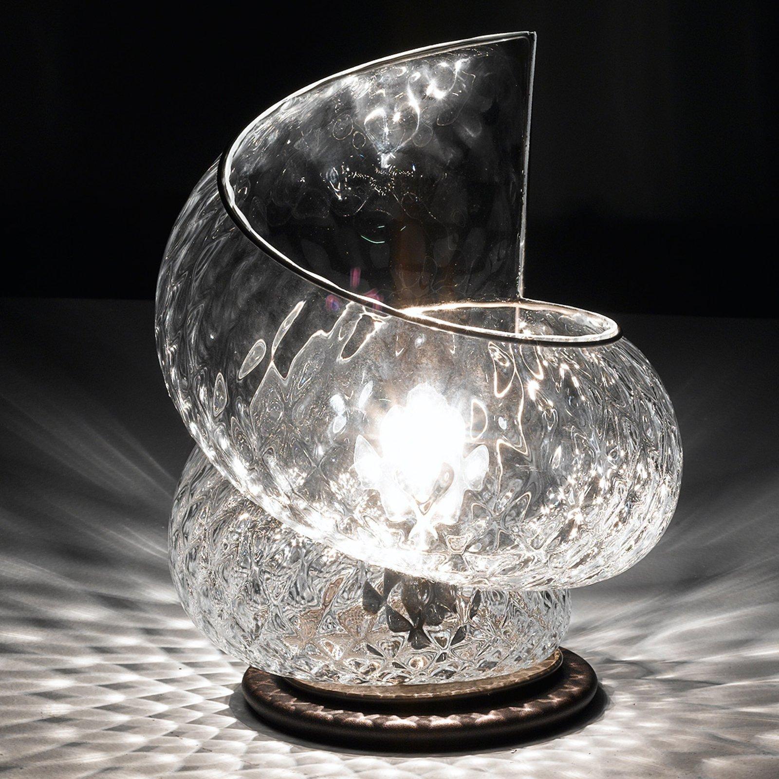 Bordlampe Chiocciola med klart glass