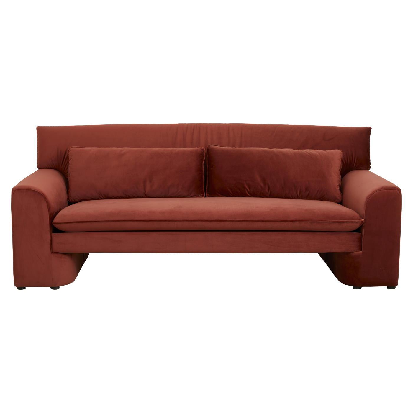 Soffa röd sammet GEO Nordal