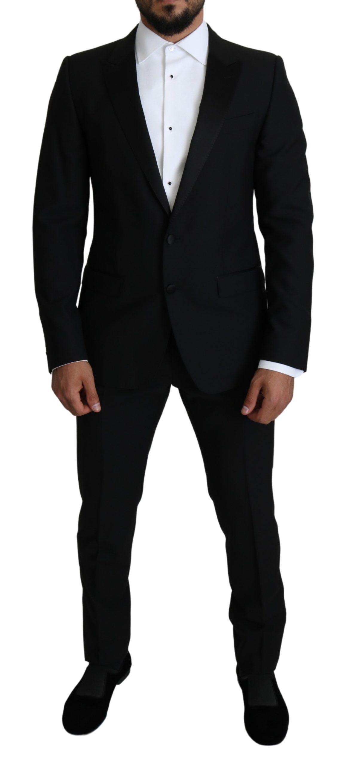 Dolce & Gabbana Men's Slim Smoking 2 Piece MARTINI Suit Black KOS1822 - IT50   L