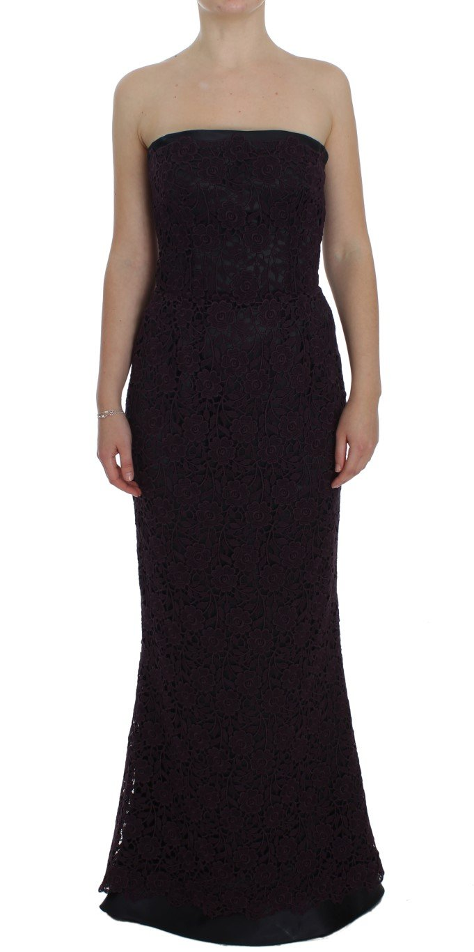 Dolce & Gabbana Women's Floral Ricamo Long Sheath Dress Purple NOC10125 - IT40|S