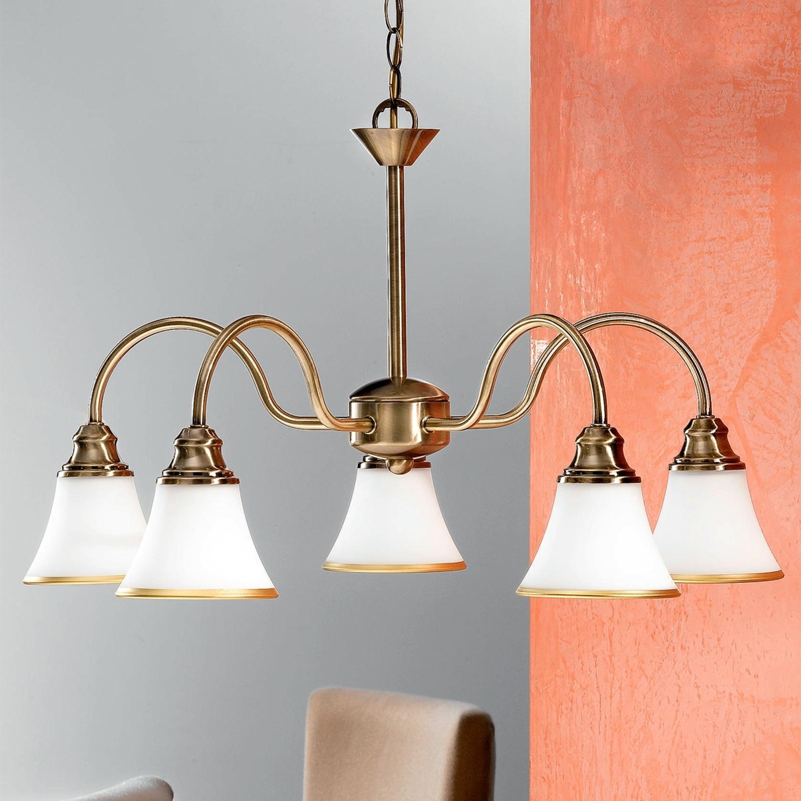TILDA – 5-lamppuinen riippuvalaisin, antiikkimess.