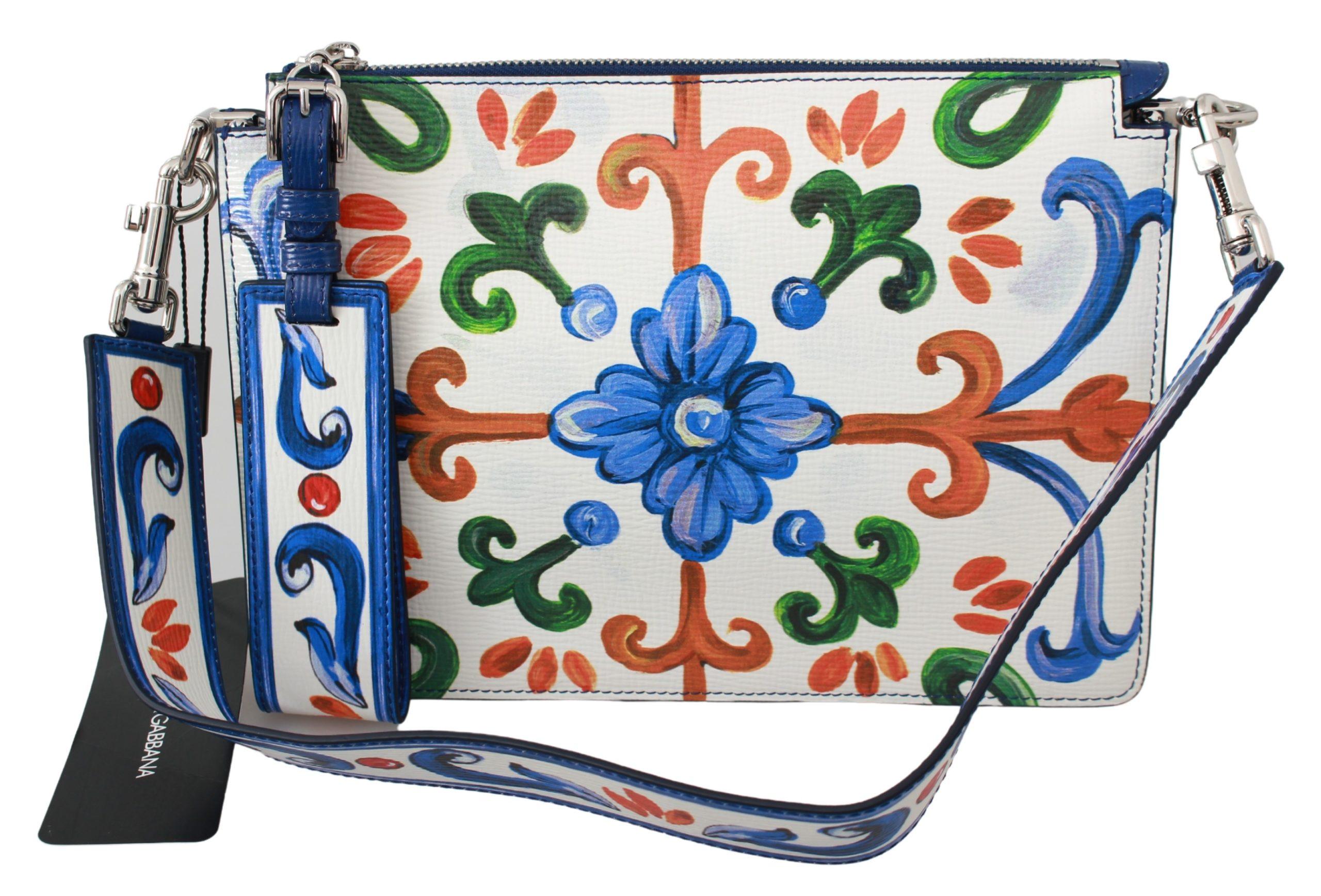 Dolce & Gabbana Women's Majolica Print Leather Shoulder Bag Multicolor VAS9389