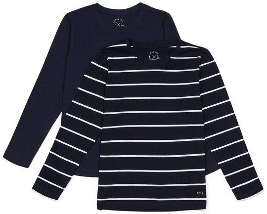Luca & Lola Abel Langermet T-Skjorte 2-pack, Navy/Stripes 134-140