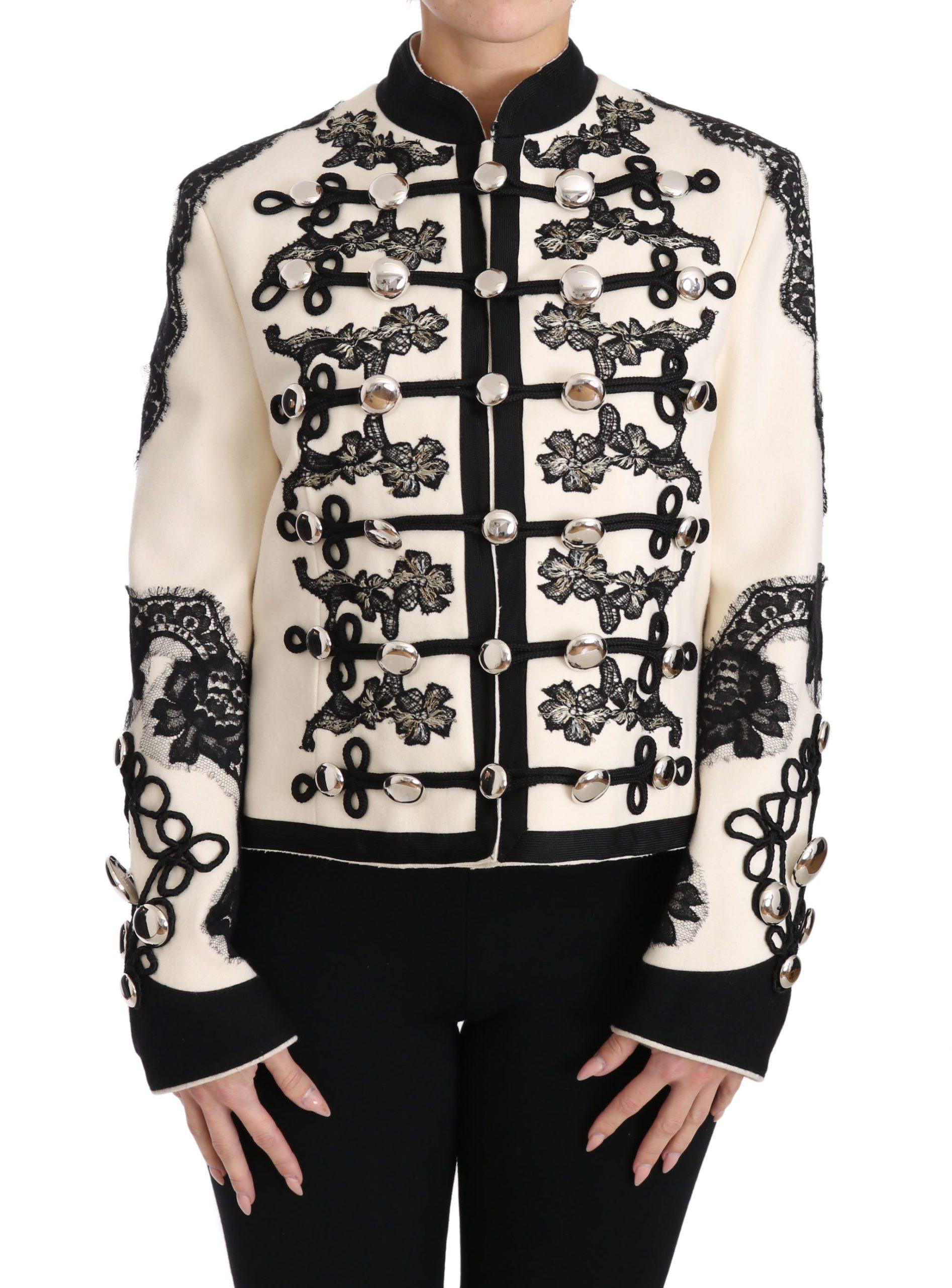 Dolce & Gabbana Women's Wool Floral Baroque Jacket White JKT2317 - IT36 | XS